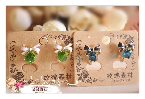 玫瑰森林-- ☆°* 優雅氣質女孩~ 金邊蝴蝶結 水晶方塊  耳夾式耳環(特價)