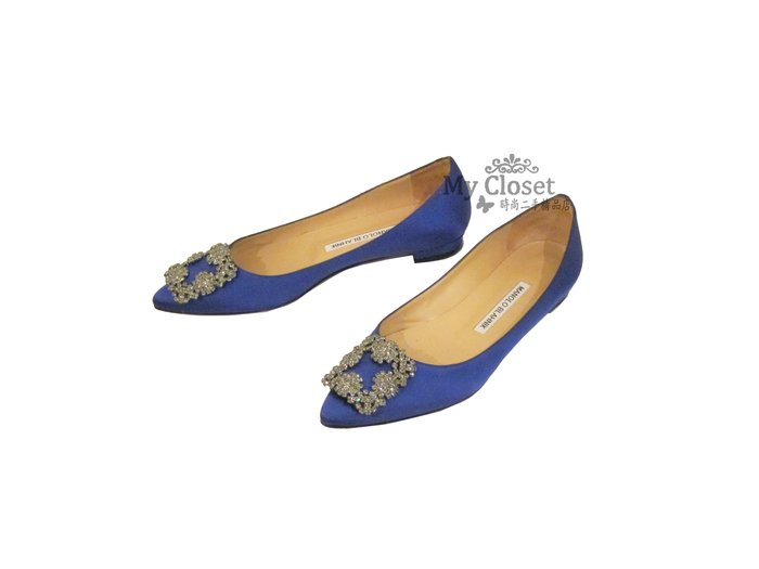 My Closet 二手名牌 MANOLO BLAHNIK 寶藍色緞面x水鑽扣環 平底鞋