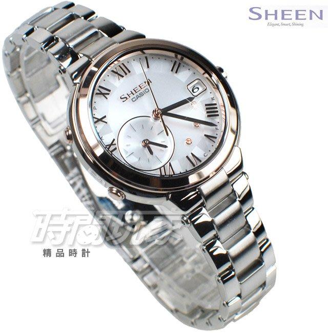 SHEEN SHB-200ASG-7A 太陽能 施華洛世奇 藍牙傳輸 鑲鑽 女錶 玫瑰金 CASIO卡西歐【時間玩家】