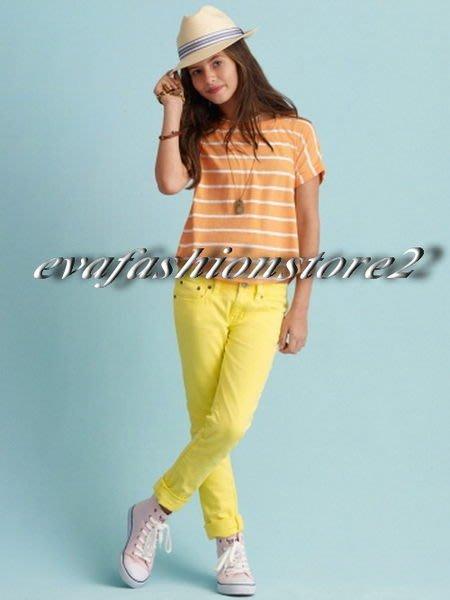 【Polo Ralph Lauren】小女童美麗繡螢光綠大馬亮黃色Skinny牛仔褲 -USA美國精品時尚小舖