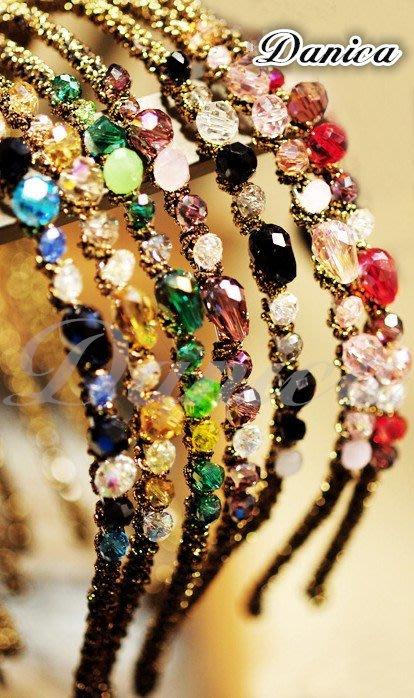 髮箍 現貨 韓國 熱賣 手作 多彩 金線 纏繞 不規則 水晶 髮箍 K7060 批發價 Danica 韓系飾品 韓國連線