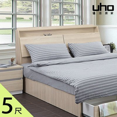 床頭箱【UHO】艾美爾5尺雙人下掀式床頭箱 免運費HO18-411-2 422-2 449-4-5-6