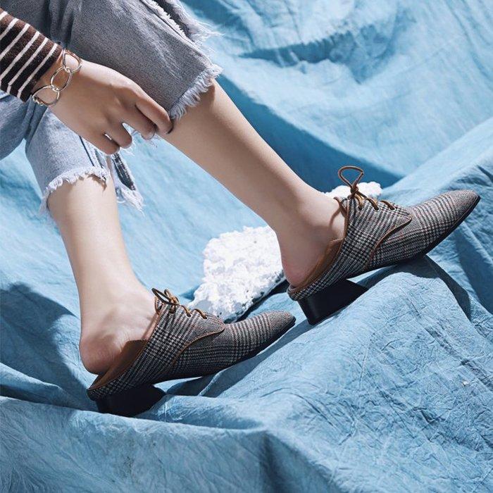 『Alice❤愛麗絲』女鞋夏新款歐洲站真皮方頭系帶低跟休閑百搭舒適異形跟單鞋子