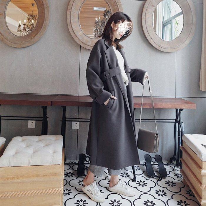Copy&Paste【免運】韓國訂單.30%雙面羊毛呢溫暖加厚保暖顯瘦修身歐美設計款長版大衣外套寬鬆大尺碼S~L(預購)