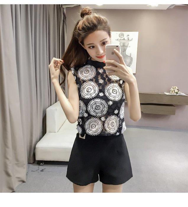 [C.M.平價精品館]S~XL/美麗性感簡約小高領黑白色系無袖上衣