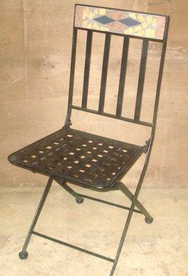 [傢俱館]  維納斯馬賽克 鐵管椅 (一組兩張)