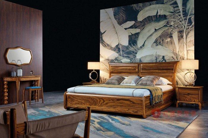 [紅蘋果傢俱] WJM-8008 烏金木系列 床組 造型床架 頂級全實木床台 床頭櫃 雙人床 六尺