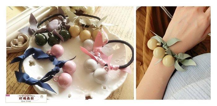 玫瑰森林-- ☆°*美麗嚴選 ~獨特 甜美 壓克力糖果球緞帶 髮繩/ 髮束 (可當手環配戴)
