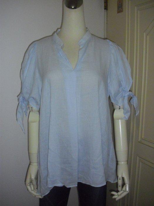 服飾淺藍開襟壓摺綁結公主袖棉衫 適M~L號 ~250元直 ~