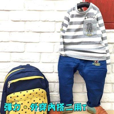 【班比納精品童裝】彈力內磨毛條紋口袋機器人T-灰【BB16083004】