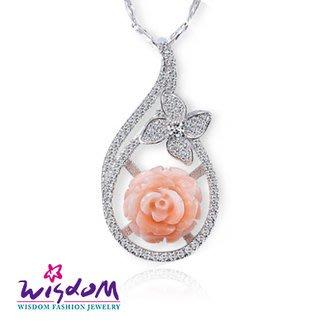 威世登 珊瑚銀墜-天然海洋紅珊瑚 璀璨粉紅玫瑰墜飾(不含鍊)-情人禮、生日禮、流行款、熱銷款- CD00099-EDXX