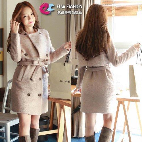 長袖裙裝 束腰帶短版雙排釦外套+裙子毛呢兩件套 艾爾莎【TAE1466】