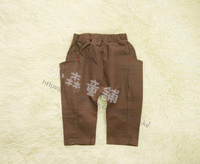 小森童舖 男女童適穿 日系休閒風格 側口袋 棉質 窄管修身 七分褲休閒褲 咖啡 天藍 5.