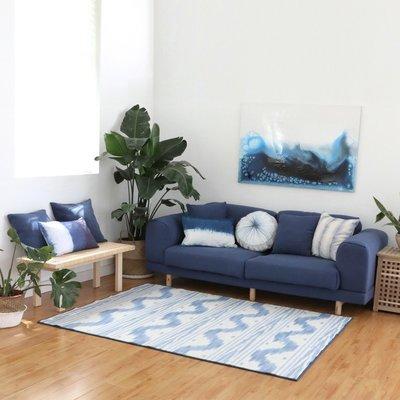 【Uluru】Wavy blue 140x200 條毯 地毯 客廳 臥室 Loft 北歐 工業 風 zakka 地墊