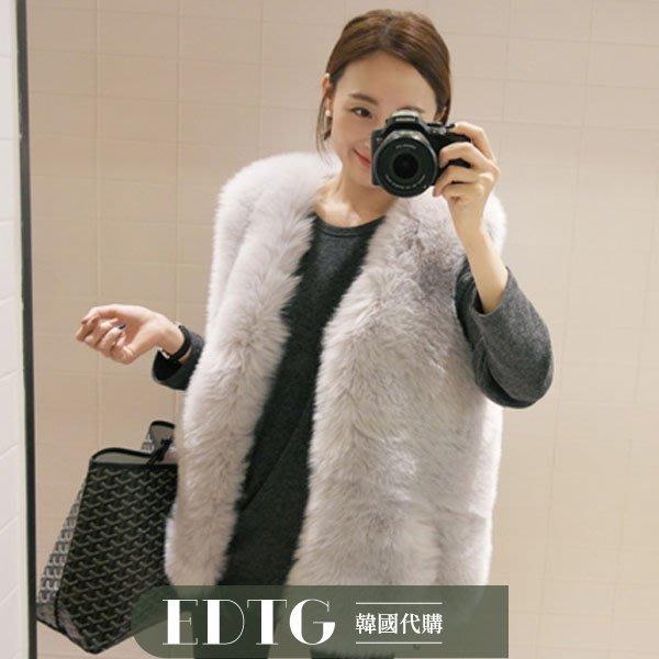 【  EDTG  】NEW女神氣質環保狐貍毛皮草背心外套