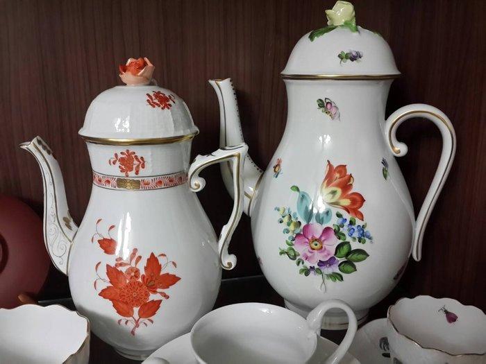 均有瑕疵~~歡迎提問~~創建於1826年~東歐名瓷窯廠~匈牙利國寶~~ Herend ~~手繪花卉&橘色印度花~~咖啡壺