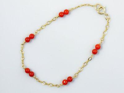 紅珊瑚手鍊 圓珠手鍊  天然沙丁紅珊瑚...
