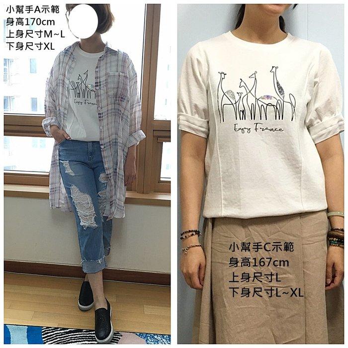 正韓【Meet Shop】Jul-19 亮片造型長頸鹿公主小包袖棉質上衣 白色現貨