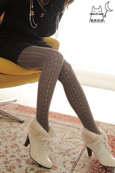 【拓拔月坊】日本製 MORE 森林女孩 鑽型洞洞 混羊毛褲襪 秋冬款~現貨!