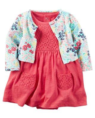 【Carters】卡特 美國正品 美麗蕾絲短袖洋裝(包屁連身洋裝)+碎花小外套 兩件組套裝