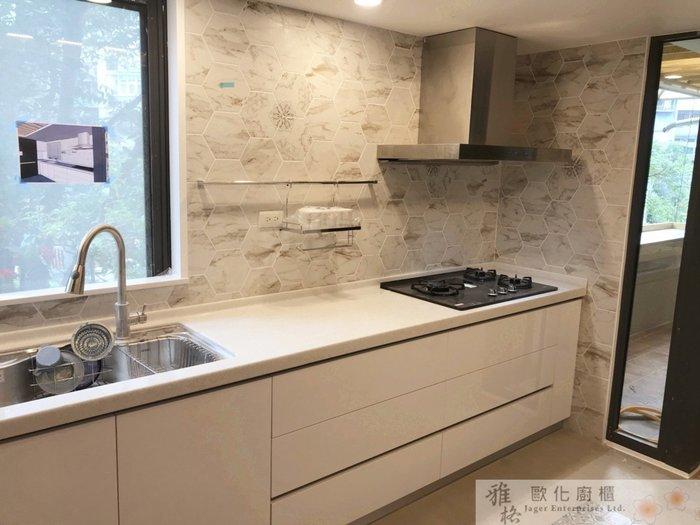 【雅格廚櫃】工廠直營~L字型廚櫃、流理台、結晶鋼烤、三星人造石檯面、850P韓國大單槽