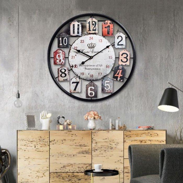【Uluru】Loft 美式復古工業風 靜音時鐘 掛鐘 50cm 設計師款式 作舊造型 靜音機芯