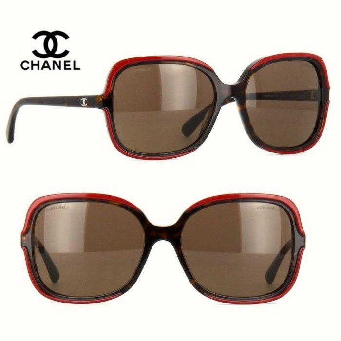 CHANEL香奈兒►(紅色+深琥珀色框×深咖啡色鏡片)方型大框×立體金屬LOGO 太陽眼鏡 墨鏡|100%全新正品|特價!