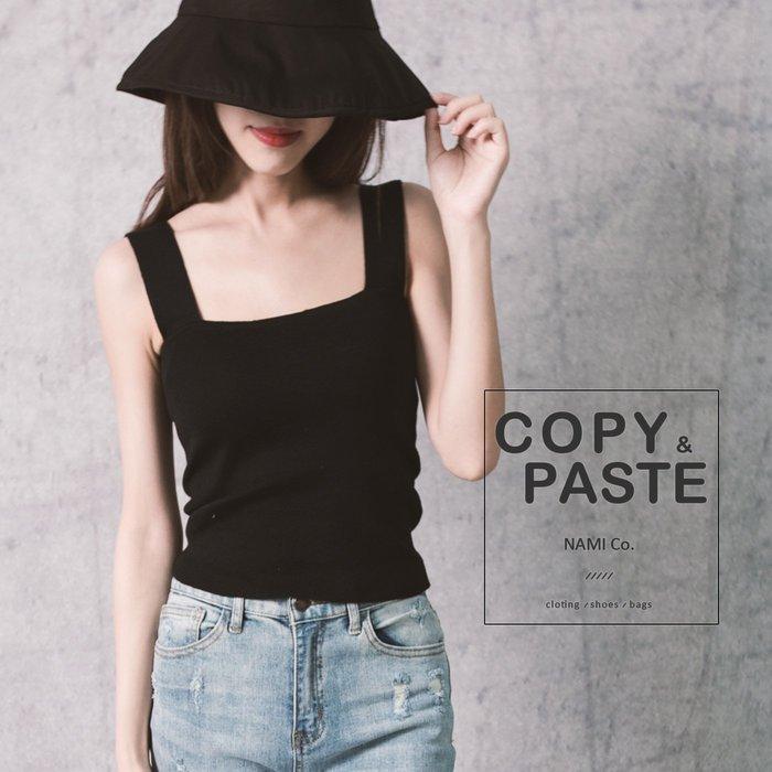 Copy&Paste【C21】韓國訂單.歐美小性感法式方領平口寬肩帶百搭顯瘦黑色針織背心小可愛無袖短版上衣 (預購)