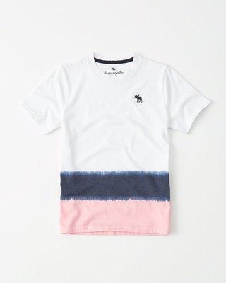 【天普小棧】A&F abercrombie KIDS dye effect icon crew tee白色漸層短袖T恤