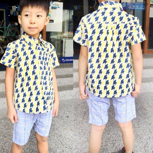 【班比納精品童裝】個性滿版閃電短袖襯衫-黃【BO160304025】