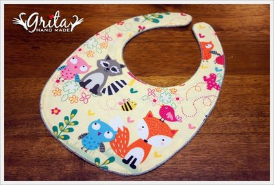 ♥grita's handmade♥純棉手作嬰幼兒圍兜兜/領巾/口水巾/三角巾/彌月禮—動物好朋友