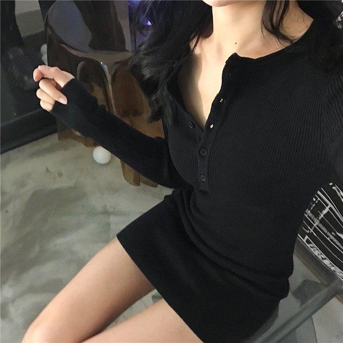 Modem Girl♥100%實拍 韓組 自留款 小性感 針織彈性鈕扣洋裝