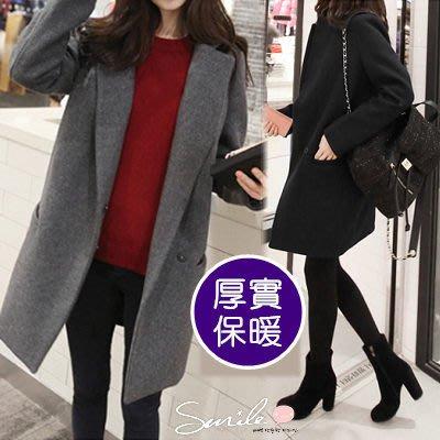 【V309】SMILE-轻熟时尚.简约翻领毛呢长袖中长大衣外套