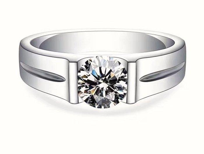 婚戒特賣鑽戒簡約男女款對戒鑽戒925純銀鍍鉑金指環 鑲嵌高碳鑽2克拉克拉中性戒指 精工高碳仿真鑽石  FOREVER鑽寶