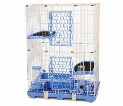 【優比寵物】ACEPET歐式精緻豪華(3層+2跳板)貓籠610-M2Y《藍色》(附贈全配件)/寵物籠/抽取式底盤-台灣製