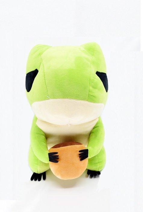 X射線【C030096】12吋旅行蛙抱栗子,絨毛/填充玩偶/玩具/公仔/抱枕/靠枕/娃娃