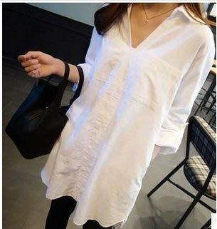 韓系 白襯衫反折二用短袖長袖中長款襯衣12321/BF風寬松大碼襯衫S-XL 胖胖美依
