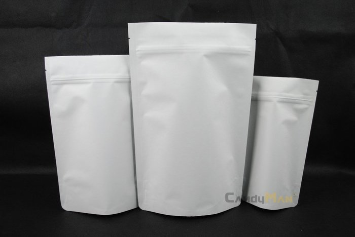 HBZ201 壹磅夾鍊站立袋 高級白色牛皮紙 含單向排氣閥(100入)