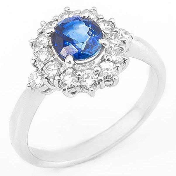 【JHT 金宏總珠寶/GIA鑽石專賣】1.18ct天然藍寶造型鑽戒/材質:PT900(S00005)