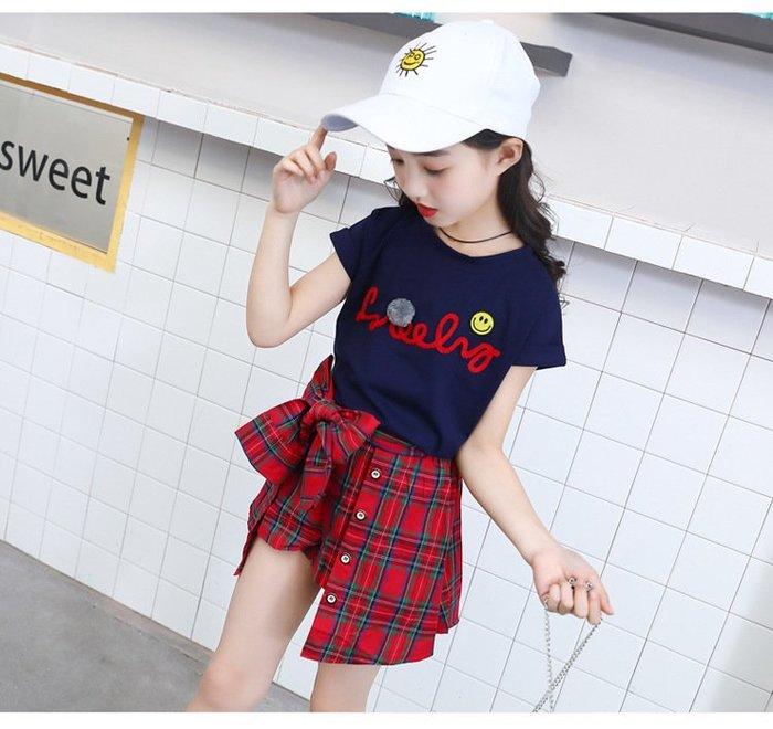 日韓歐美♥韓版 女童 微笑字母短袖上衣+紅色格紋蝴蝶結短裙  兩件式套裝 暢銷熱賣款   【E671】