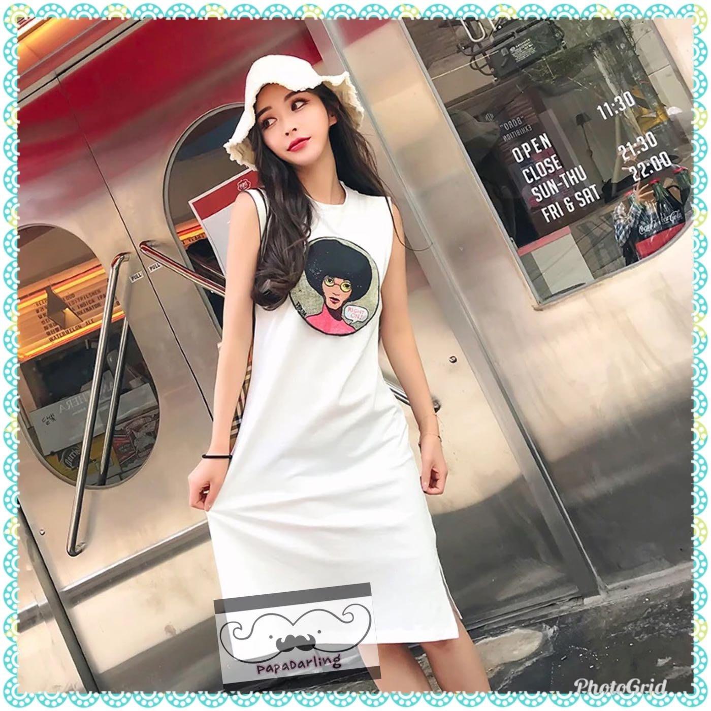 PapaDarling 18SS 歐美時尚漫畫女少寬鬆連身裙