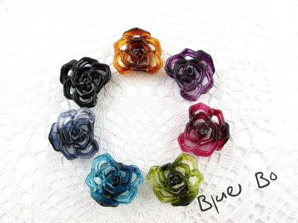 ~*BlueBo*~ 韓國飾品  超好用 鏤空玫瑰花小抓夾    小鯊魚夾~2.8cm