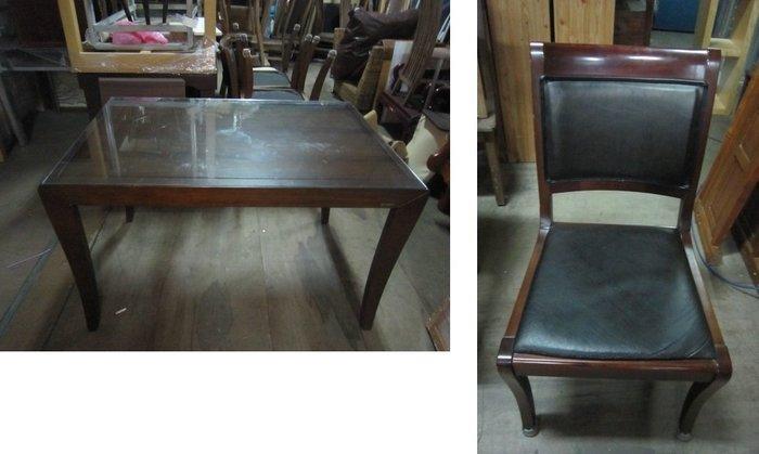 ㊖華威搬家=更新二手倉庫㊖中古韓製餐桌椅長方桌玻璃餐椅(一桌4椅) 收購回收餐飲設備家具家電辦公傢俱