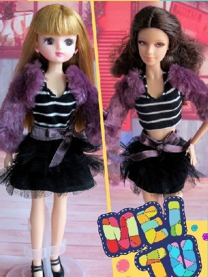 愛卡的玩具屋 ㊣芭比衣服 芭比 珍妮 可兒 麗佳都能穿 紫色小坎肩 三件套