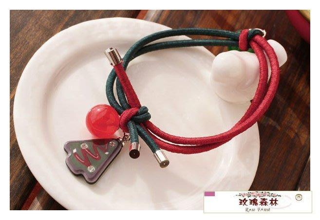 玫瑰森林-- ☆°*美麗嚴選 ~獨特 紅綠雙色 壓克力聖誕樹 髮繩/ 髮束 (可當手環配戴)