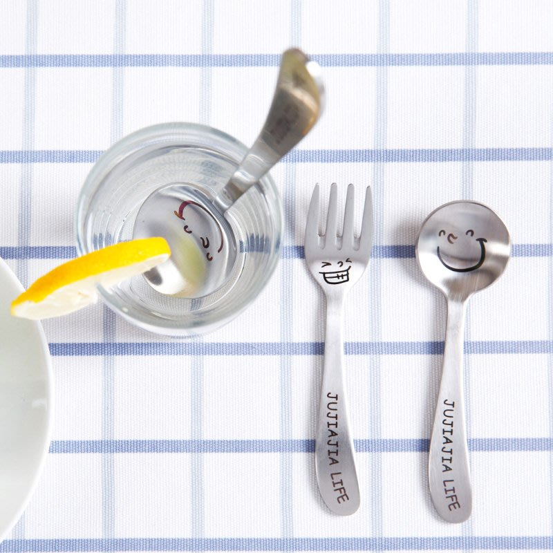 不銹鋼笑臉湯勺餐具湯匙叉子 家用便攜可愛兒童甜品小勺子JJ037