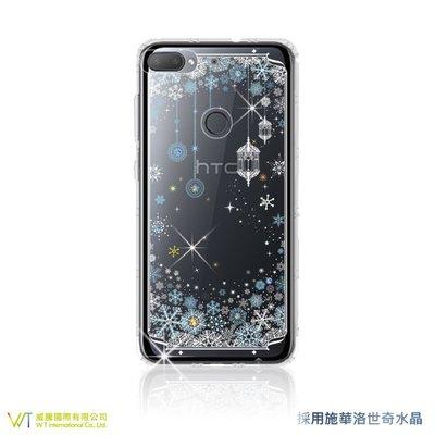 【WT 威騰國際】WT® HTC Desire 12 + 施華洛世奇水晶 彩繪空壓殼 軟殼 -【映雪】