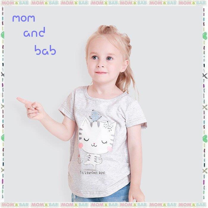 ❤大老婆小寶貝❤夏天mom and bab超萌貓咪可愛抓皺造型上衣/短T~24m.3T、4T、5T、6T、7T