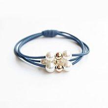 全新湖水藍多層髮圈珍珠頭繩橡皮筋(包平郵)