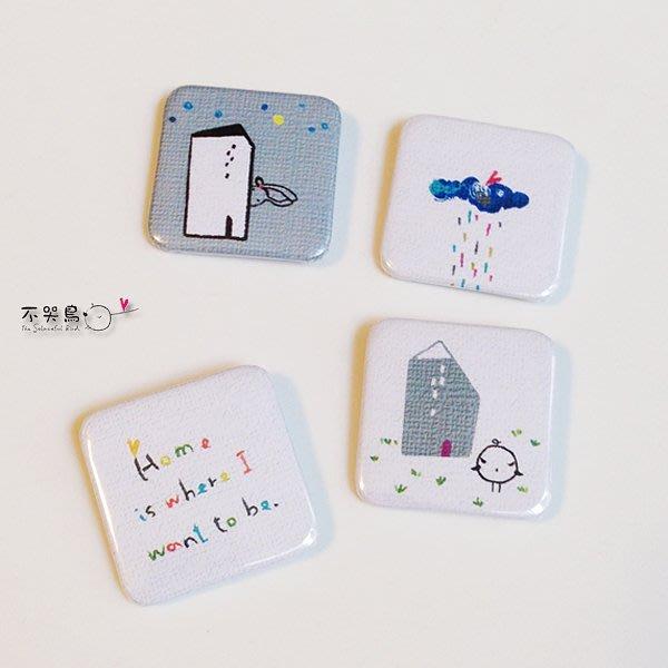 飾品 配件 *徽章 方形-小房子(4枚組)*不哭鳥